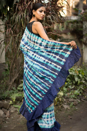Blue & White Ruffle Saree With Shibori Design