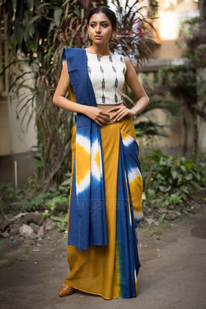 Medallion Yellow And Indigo Tie & Dye Saree