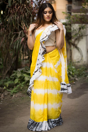Sunflower Yellow Ruffle Saree With Shibori Design