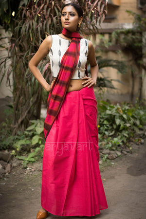 Pink Punch & Brown Camp Dye Cotton Saree