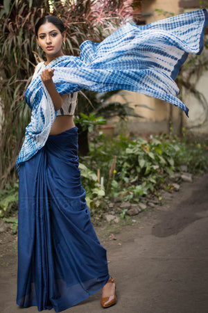 Indigo Blue Saree with Shibori Design