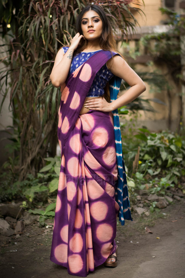 Mulberry Purple Cotton Saree with Clamp Dye Design