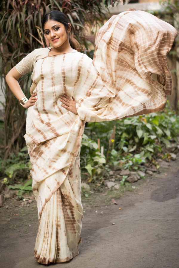 Beige & Brown Shibori Silk Saree