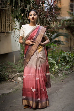 Shaded Tussar Silk Saree With Block Print  & Zari Border
