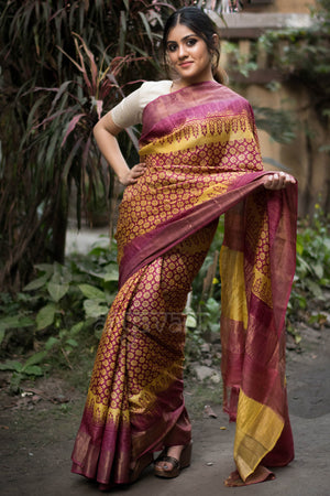 Yellow & Magenta Tussar Silk saree With Zari Border