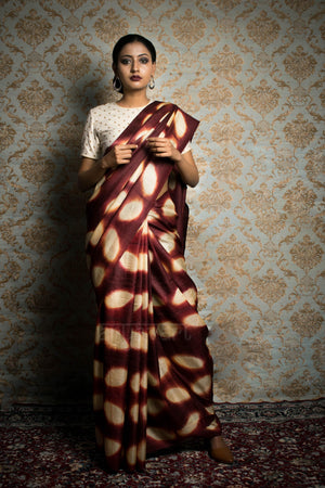 Brick Red Tussar Silk Saree With Dramatic Clamp Dye Design