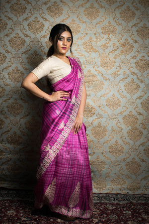 Rose Pink Block Print Silk Saree