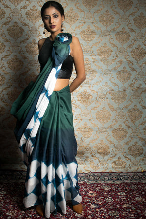 Teal & Blue Cotton Saree with Clamp Dye Design