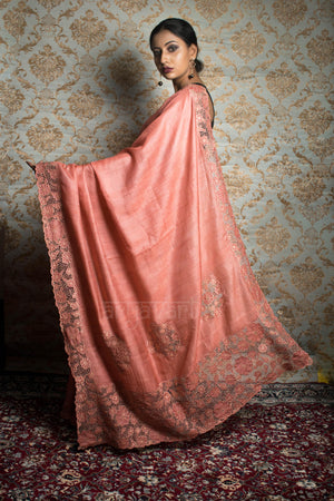 Stunning Coral Tussar Silk Saree With Cut Work Design