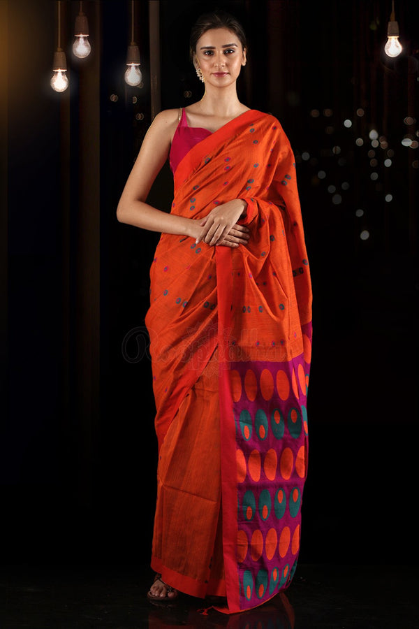 Tiger Orange Blended Cotton Saree With Woven Motifs