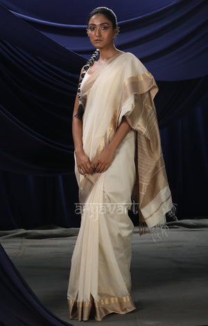 Off- White Maheshwari Saree with Striking Gold & Beige Woven Border