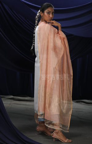 Peach Chanderi Silk Cotton Dupatta