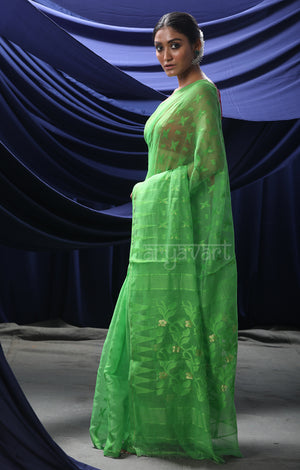 Parrot Green Jamdani Saree with Beautiful Woven design