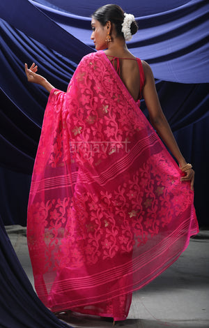 Fuchsia Pink Jamdani Saree with Lovely Flower Vine Woven Design