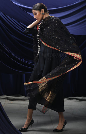 Black Chanderi Silk Cotton Dupatta with Woven Buttas and Contasting Red Border