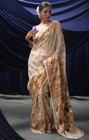 Beige Jamdani Saree with Ochre yellow Woven Design