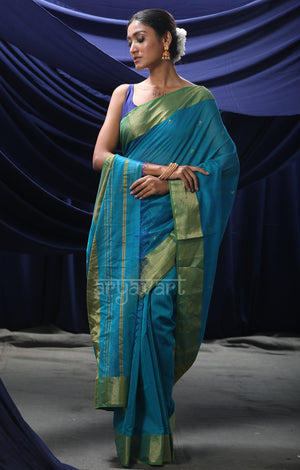 Teal Maheshwari Saree With Woven Geometric Buttas and Zari Border