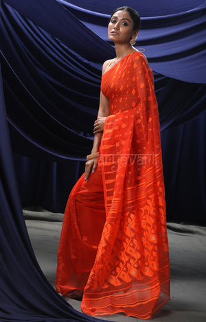 Fire Orange Jamdani Saree with Woven Buttas