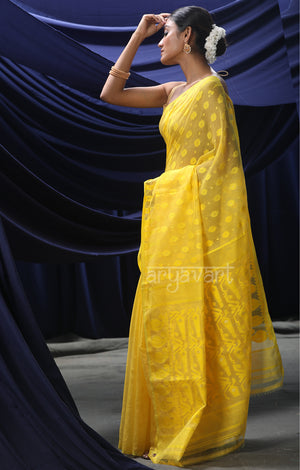 Sunflower Yellow Jamdani Saree with Woven Design