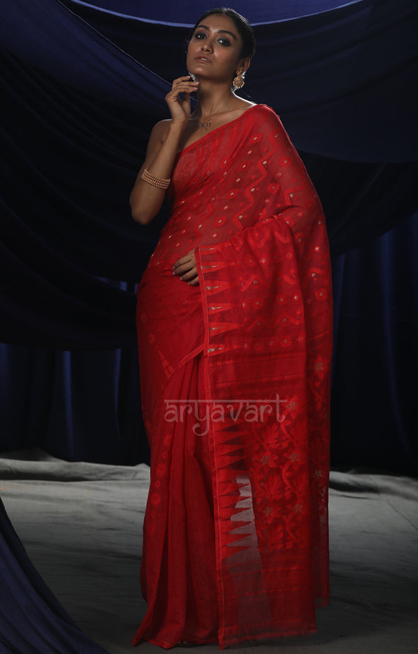 Stunning Scarlet Red Jamdani Saree with Zig- Zag Woven Design