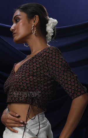 Black Kalamkari Print Blouse With Red Piping