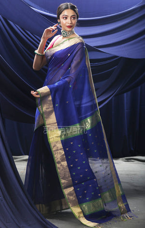 Ink Blue Maheshwari Saree With Woven Geometric Buttas and Zari Border