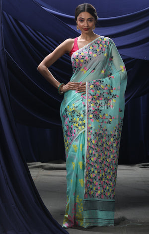 Powder Blue Jamdani Saree with Multicolour  Flower Vine Woven Design