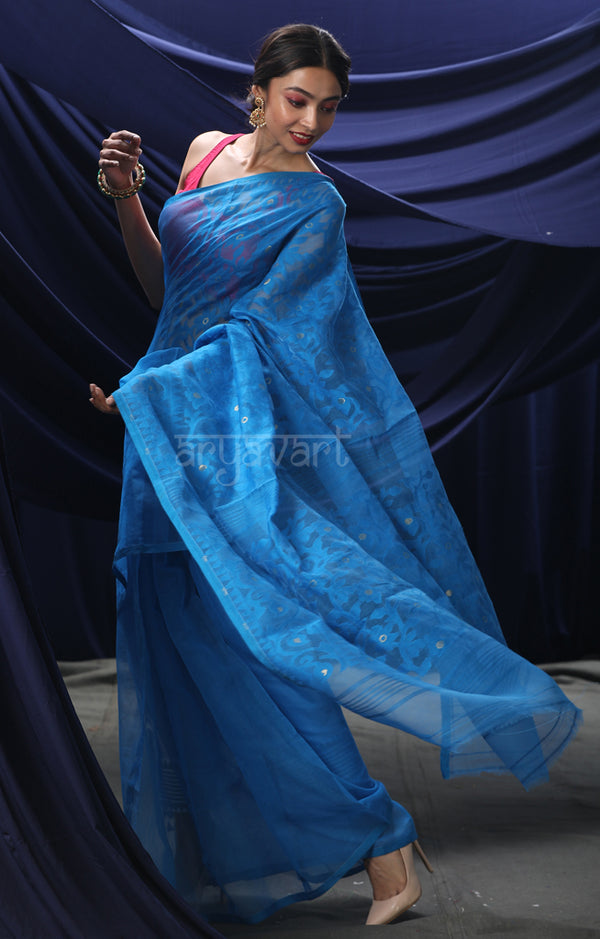 Persian Blue Jamdani Saree with Lovely Flower Vine Woven Design
