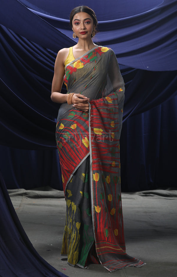 Grey Jamdani Saree with Woven Multicolour Tulip design