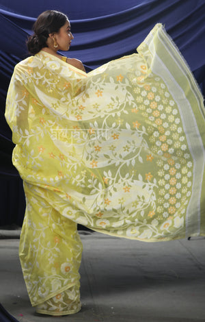 Lime Yellow Jamdani Saree with Striking Flower Vine Woven Design
