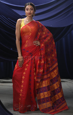 Red Jamdani Saree with Woven Multicolour Geometric Butta