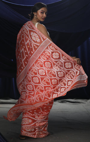 Peach Orange Jamdani Saree with Geometric Woven Design In White