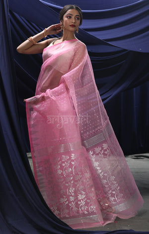 Baby Pink Jamdani Saree with Siver Zari Woven Design