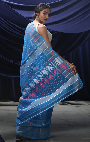 Persian Blue Jamdani Saree with Woven Buttas in Pink & White