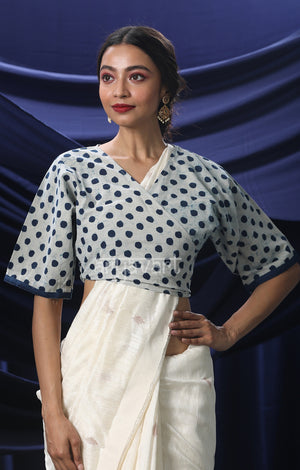 White Blouse With Indigo Blue Polka Dots