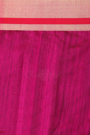 Royal Blue Blended Cotton Saree With Fuchsia Pallu