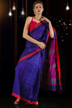 Royal Blue Blended Cotton Saree With Woven Motifs