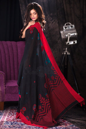 Black Cotton Handloom Saree With Floral Designs