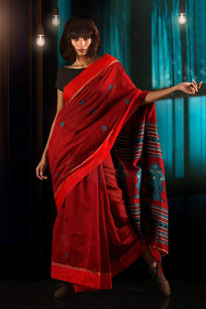 Red Blended Cotton Saree With Woven Designs