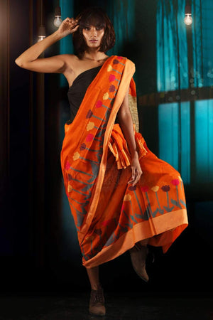 Tiger Orange Blended Cotton Saree With Floral Border
