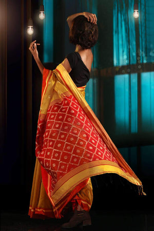 Yellow Blended Cotton Saree With Red Pallu