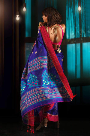 Royal Blue Blended Cotton Saree With Woven Designs