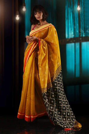 Yellow Blended Cotton Saree With Black Pallu