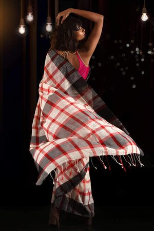 White & Red Pure Cotton Checkered Saree With Black Border