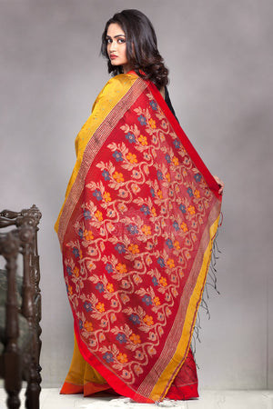Yellow Blended Cotton Saree With Bright Red Woven Pallu