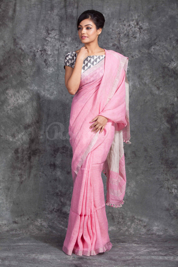 Light Pink Linen Saree With Silver Border