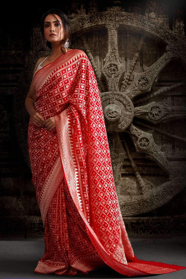VERMILION RED CHIFFON SAREES WITH GEOMETRIC DESIGNS