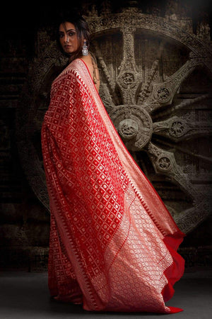 Vermilion Red Saree with Zari Geometric Woven Design