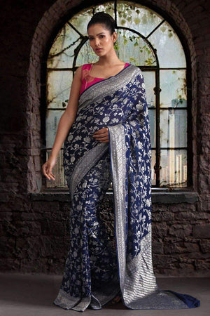 Navy Blue Chiffon Saree with Zari Floral Woven Design