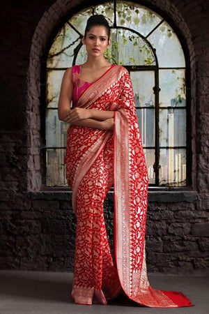 STUNNING RED CHIFFON SAREE WITH FLORAL DESIGNS